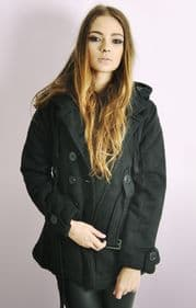 Ladies Black Double Breasted Coat with Belt