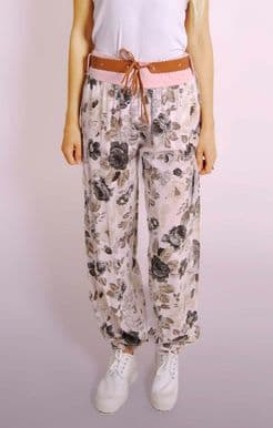 Ladies Italian Summer Floral Harem Trousers