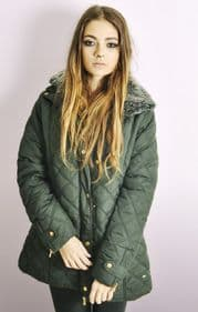 Ladies Olive Quilted Jacket with Removable Fur Collar