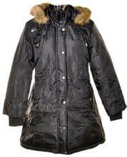 Ladies Plus Size Black Coat with Fur Trim Hood