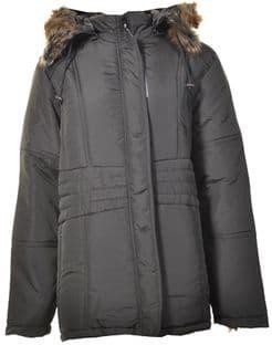 Ladies Plus Size Black Coat with Large Fur Trim Hood