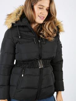 Lovedrobe Belted Puffer Jacket in Black & Grey
