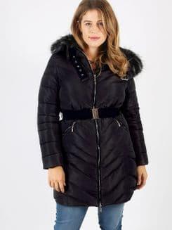 Lovedrobe Black Long Jacket With Fur Trim
