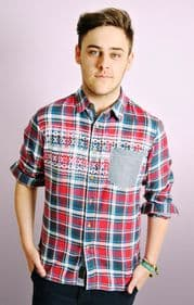 Mens Checked Long Sleeved Shirt