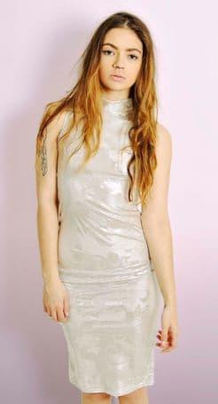 Metallic Midi Dress with Floral Print