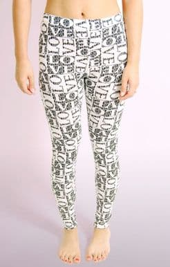 Monochrome LOVE Print Leggings