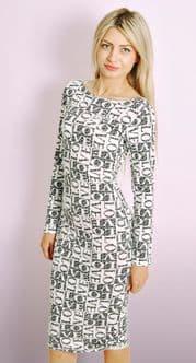 Monochrome 'LOVE' Print Midi Dress