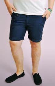 Navy Hawaii Print Turn Up Chino Shorts