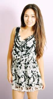 Print Dress with Bead Detail