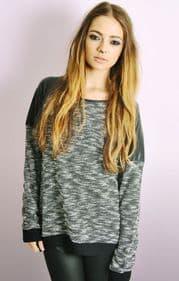 PU Detail Space Dye Sweatshirt