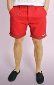 Red Hawaii Print Turn Up Chino Shorts
