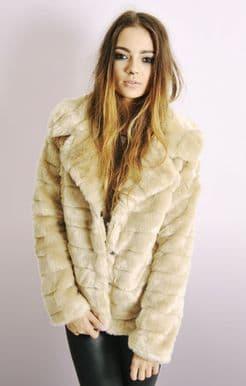 Womens Champagne Faux Fur Camel Jacket