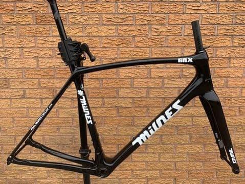 Milnes GRX Disc Brake Carbon Gravel Road Bike Frame Fork Frameset Mudguard Eyes Black