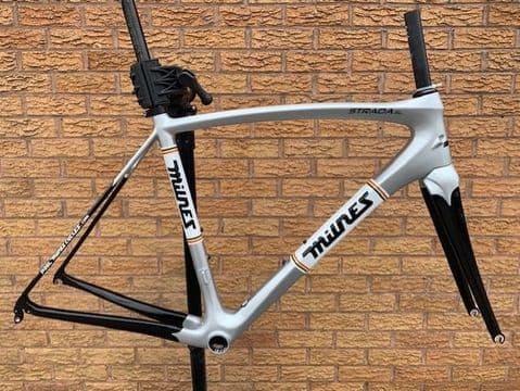 Milnes Strada SL Rim Brake Carbon Road Bike Frameset Frame Fork, Silver PMC