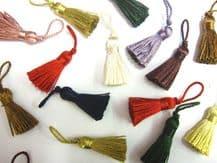 100 Mini craft tassels Small 3.5cm + 2cm loop long decorative Key cushion tassel