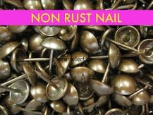 1000 NON RUST UPHOLSTERY NAILS - Antique on brass nail