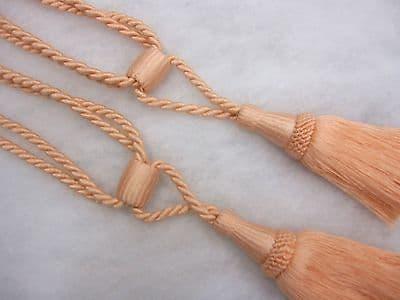 2 Baby pink curtain tassel tie backs Traditional rope & tassle cord tiebacks