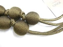 2 Ball String Henley Curtain Tiebacks TAUPE Traditional Tie Backs 84cm long
