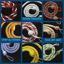 2 Rope curtain tiebacks - slender slinky rope cord drape hold backs fabric ties