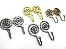 2 Spiral curtain tassel wall tie hooks - Strong metal swirl design - 4 Colours