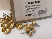 250 16mm Diameter SOLID NON RUST BRASS HEAD UPHOLSTERY DOME NAILS - Steel shank