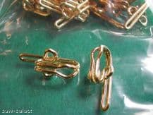 50 BRASS CURTAIN HOOKS new solid curly metal tape hook