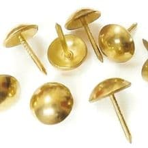 50 Brass plated 16mm upholstery nails large tacks Heico H16 furniture studs