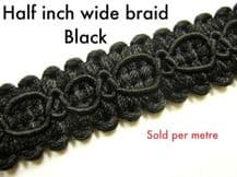 Black chair braid trimming fabric upholstery trim per m