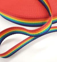 Bright Rainbow Webbing 50mt Reel 25mm Wide Upholstery Sewing Craft Braid Border