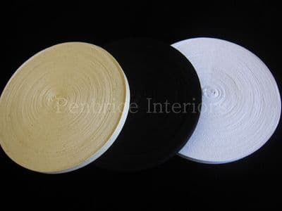 Cotton India Twill Tape 50 mt reels Black White Natural ½  inch wide sewing trim