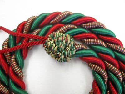 2 Rope curtain tiebacks RED & GREEN slender slinky cord drape tie Xmas Christmas