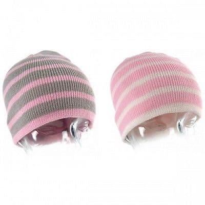 Girls pink striped beanie hat Warm soft knitted winter kids childrens child gift