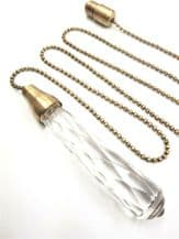 Large Glass Light Cord Pull 10cm with Antique Brass Trim - 95cm Chain and Connector