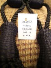Pair of black curtain tassel tie backs tiebacsk rope