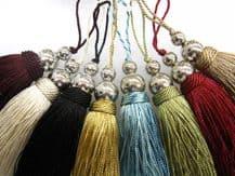 Silver Orbs key tassel 10cm fabric decoration Chrome sewing accessory trim