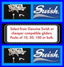 Swish Deluxe Curtain Track Gliders - De luxe rail hooks