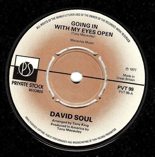 DAVID SOUL Going In With My Eyes Open Vinyl Record 7 Inch Private Stock 1977
