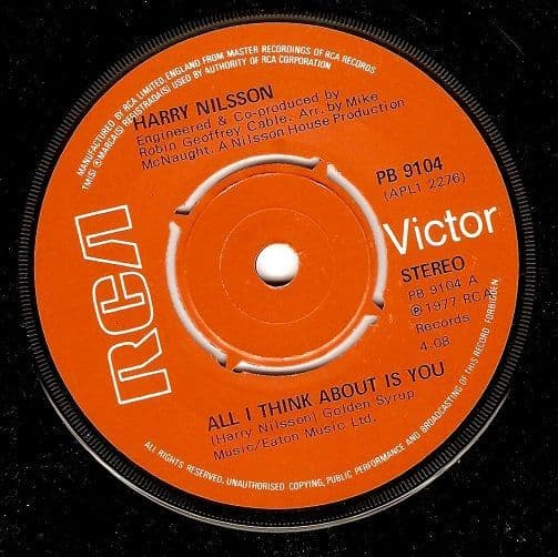HARRY NILSSON All I Think About Is You Vinyl Record 7 Inch RCA Victor 1977