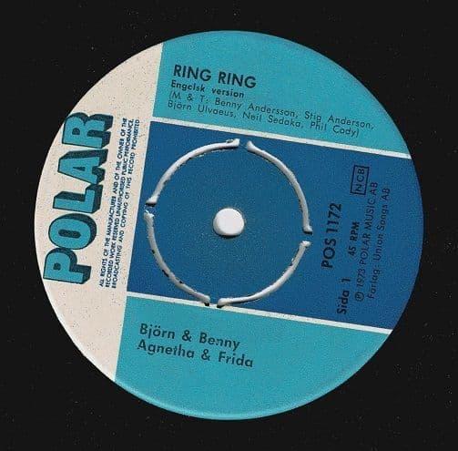 ABBA Ring Ring Vinyl Record 7 Inch Swedish Polar 1973