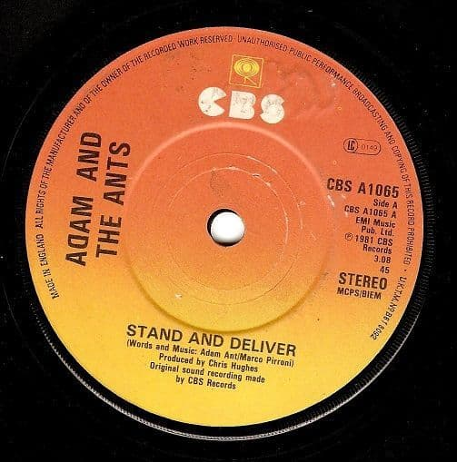 ADAM AND THE ANTS Stand And Deliver Vinyl Record 7 Inch CBS 1981