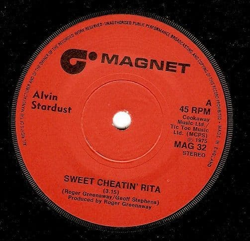 ALVIN STARDUST Sweet Cheatin' Rita Vinyl Record 7 Inch Magnet 1975