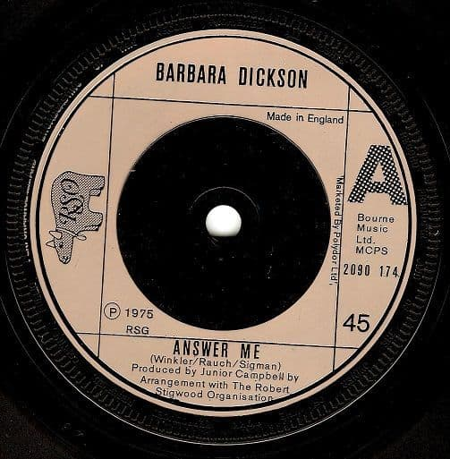 BARBARA DICKSON Answer Me Vinyl Record 7 Inch RSO 1975