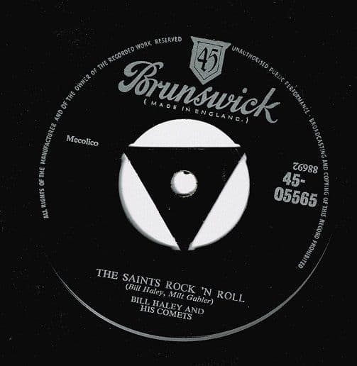 BILL HALEY AND HIS COMETS The Saints Rock 'N Roll Vinyl Record 7 Inch Brunswick 1956