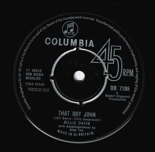 BILLIE DAVIS That Boy John Vinyl Record 7 Inch Columbia 1964