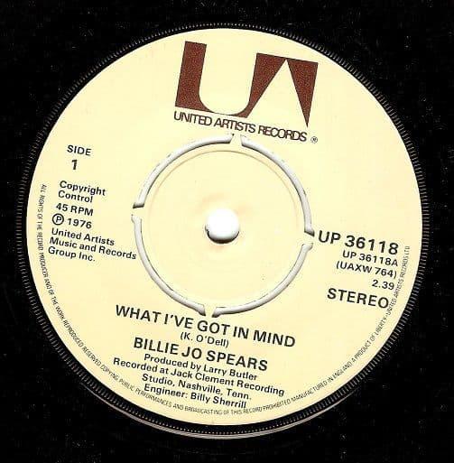 BILLIE JO SPEARS What I've Got In Mind Vinyl Record 7 Inch United Artists 1976
