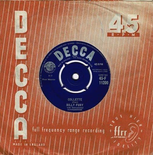 BILLY FURY Collette Vinyl Record 7 Inch Decca 1960