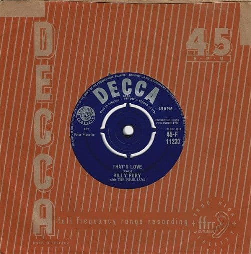 BILLY FURY That's Love Vinyl Record 7 Inch Decca 1960