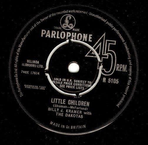 BILLY J. KRAMER WITH THE DAKOTAS Little Children Vinyl Record 7 Inch Parlophone 1964