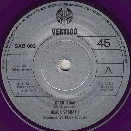 BLACK SABBATH Hard Road Vinyl Record 7 Inch Vertigo 1978 Purple Vinyl