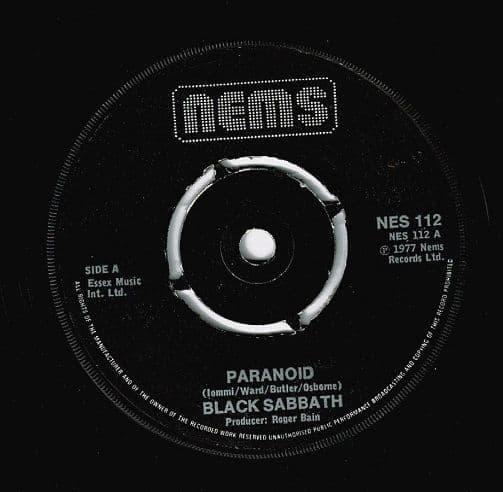 BLACK SABBATH Paranoid Vinyl Record 7 Inch Nems 1977